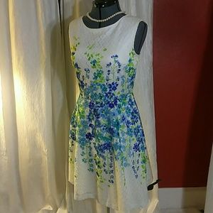 Water color flowers on lace dress